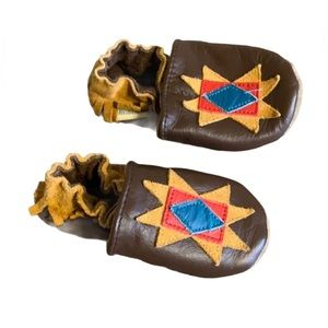 Robeez Brown Leather Moccasins - Baby Size 1